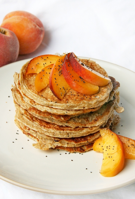 Peach Poppyseed Cottage Cheese Pancakes