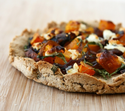 Caramelized Onion, Butternut, and Goat Cheese Pizza with Grain-Free Crust