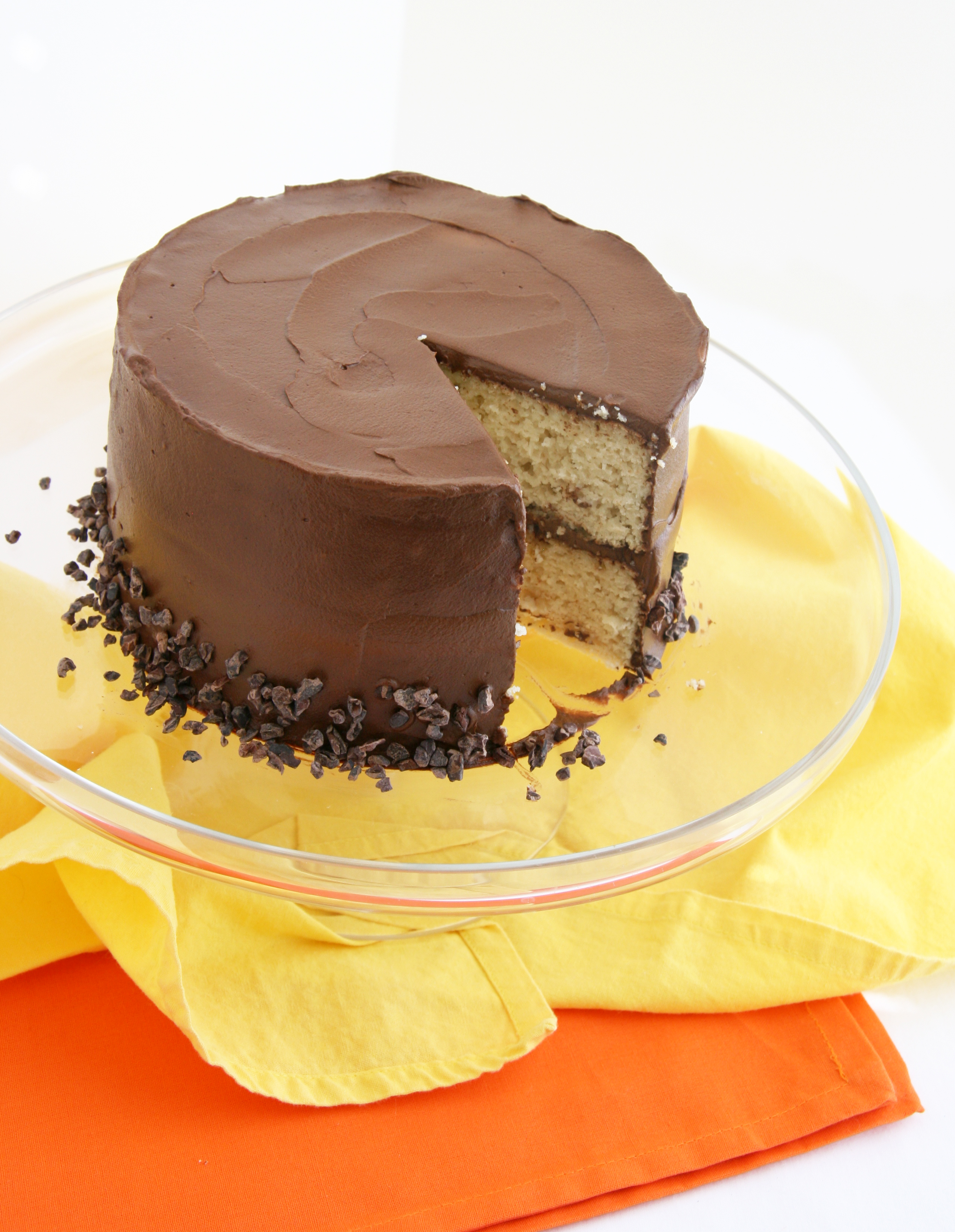 Vanilla Cake With Chocolate Frosting Natural Noshing