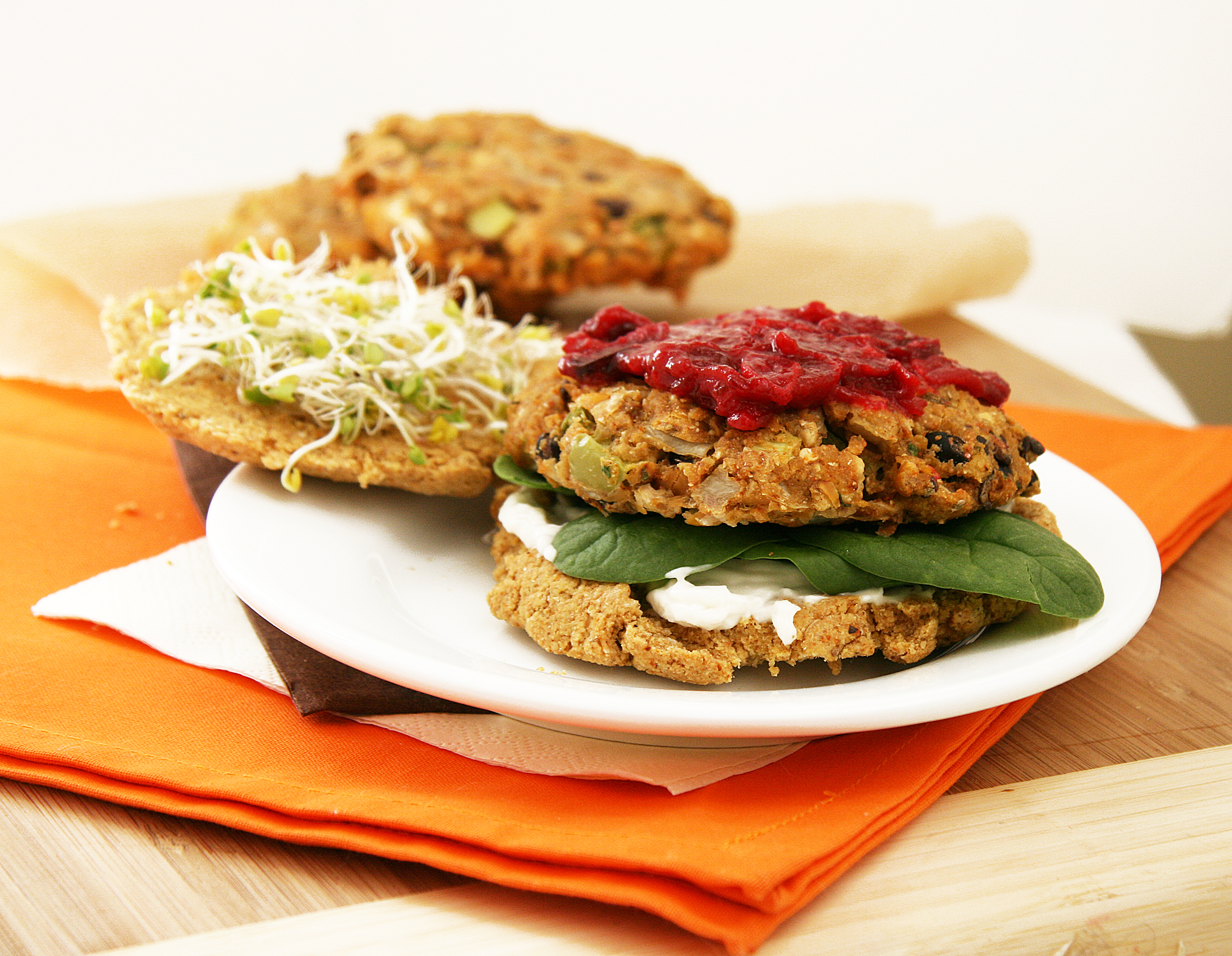 Kitchen Sink Veggie Burgers + Grain-Free Flax Bun | Natural Noshing