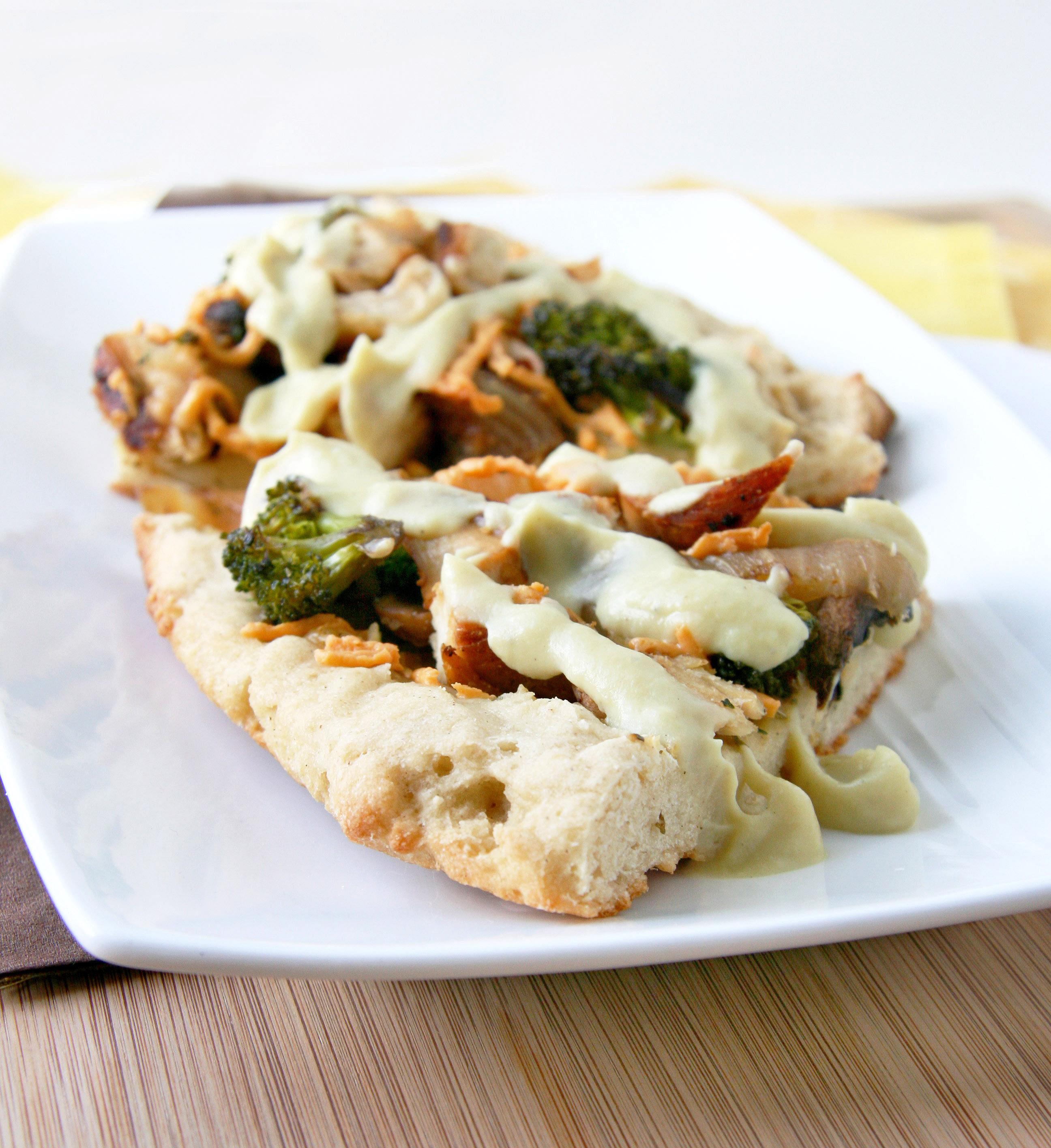 Lightened up Chicken N' Veggie Alfredo Pizza (Dairy-free) | Natural ...