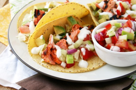 chipotle salmon taco close