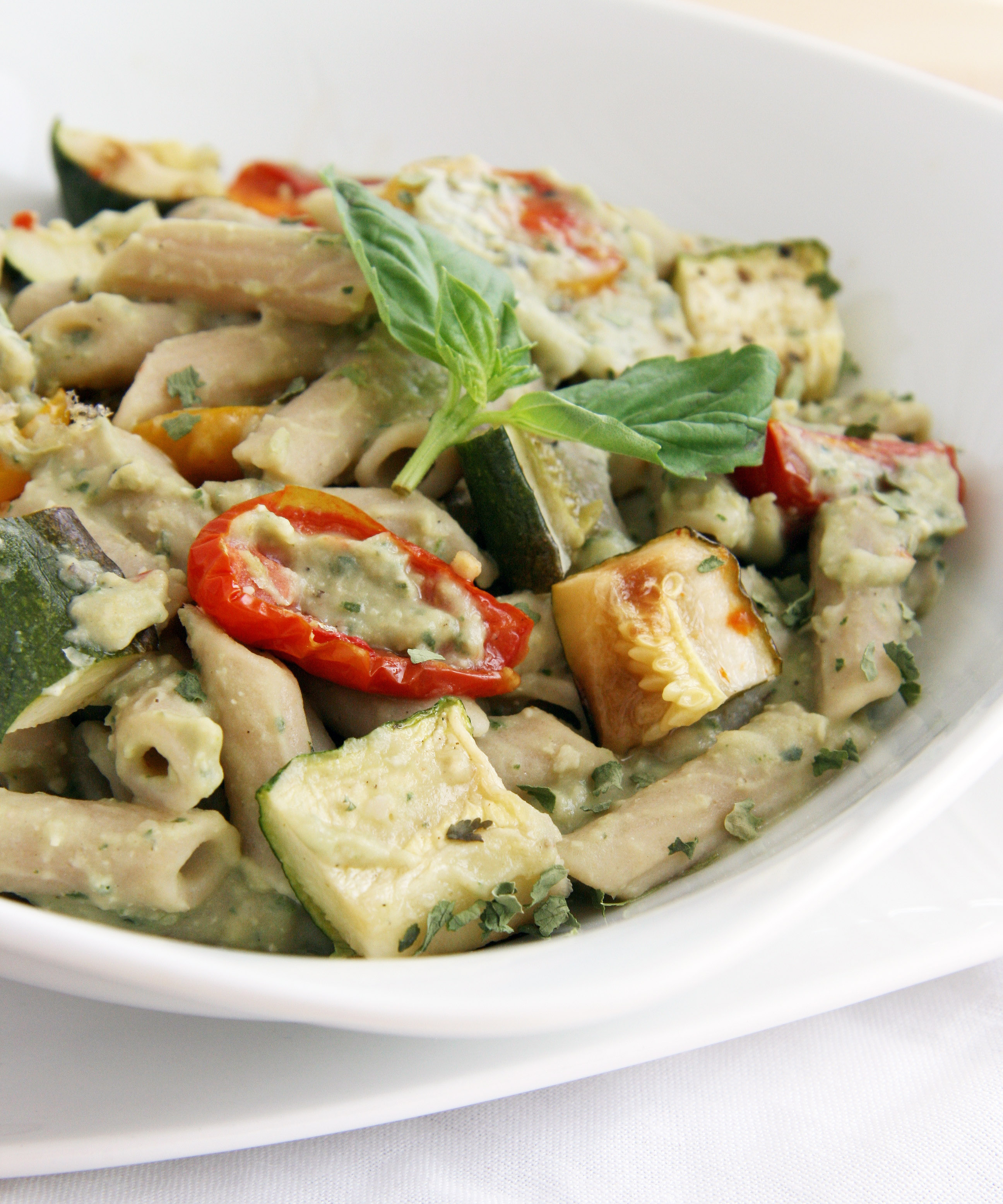 White Bean Basil Pesto Penne (slightly adapted from this recipe )