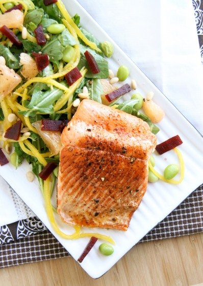 salmon mango grapefruit salad