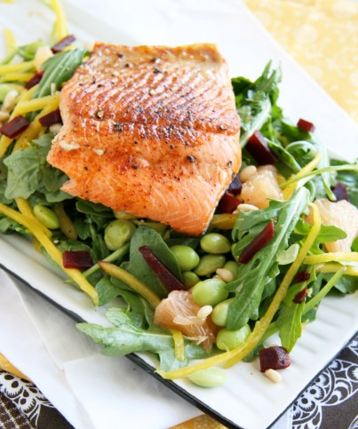 salmon mango grapefruit salad1