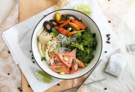 asian noodle bowls tea poached salmon