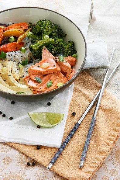 asian noodle bowls tea poached salmon1