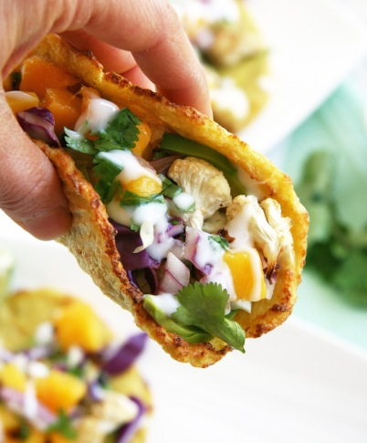 cauliflower tacos mango salsa hand