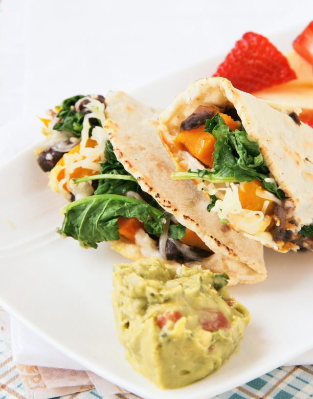 black bean squash and greens quesadilla 1