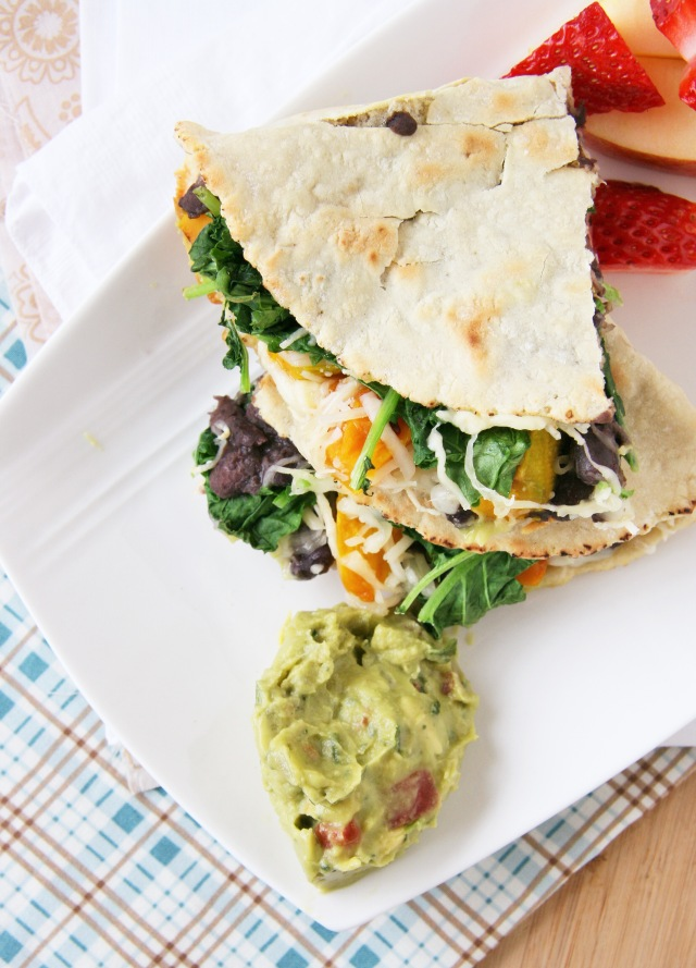 black bean squash and greens quesadilla 2