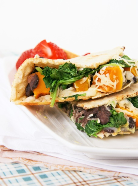 black bean squash and greens quesadilla close