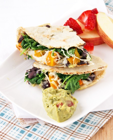 black bean squash and greens quesadilla